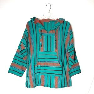 Mexican style poncho drug rug